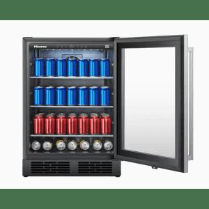 Hisense 140-Can Capacity Residential Stainless Steel Freestanding Beverage Center for $424