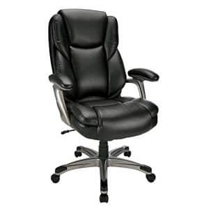 Realspace Cressfield Bonded Leather High-Back Chair, Black/Silver for $160