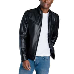 Michael Kors Men's Perforated Faux Leather Hipster Jacket for $88