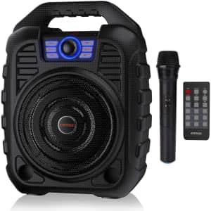 Earise Karaoke Machine with Wireless Microphone for $42
