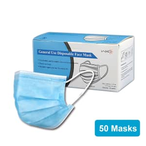 Disposable Earloop Face Mask 50-Pack for $10