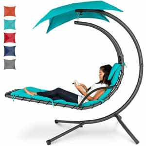 Best Choice Products Hanging Curved Chaise Lounge Chair Swing for Backyard, Patio w/Pillow, Canopy, for $220