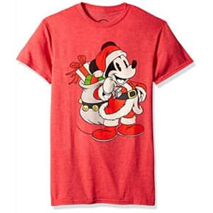 Disney Men's Christmas Mickey Mouse Santa Graphic T-Shirt, Red Heather, XX-Large for $14