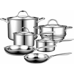 Cooks Standard 10-Piece Multi-Ply Clad Stainless Steel Cookware Set for $154
