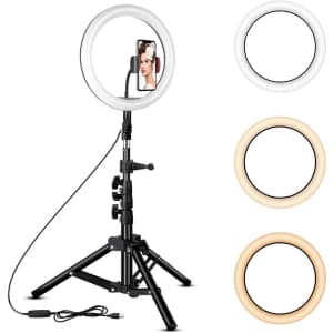 """Rovtop 10"""" Ring Light with Tripod Stand for $26"""