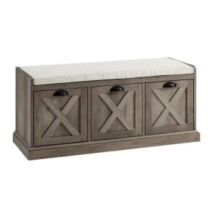 """Welwick Designs 40"""" 3-Drawer Cushioned Farmhouse Storage Bench for $225"""