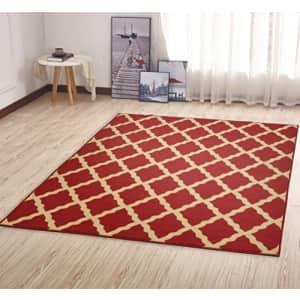 Ottomanson OTH2320-5X7 Trellis Rug, 5 Feet x 6 Feet 6 Inch, Red for $60