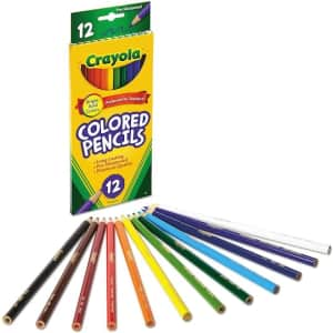 Crayola Pre-Sharpened Colored Pencils 12-Pack w/ Sharpener for $1