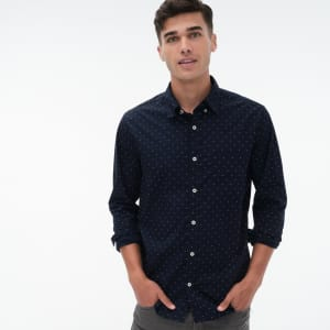 Aeropostale Men's Long-Sleeve Mini-Dot Button-Down Shirt for $10