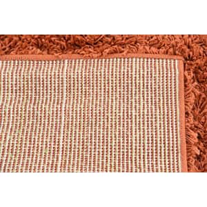 Unique Loom Solo Solid Shag Collection Modern Plush Area Rug, 4' x 6', Terracotta for $41