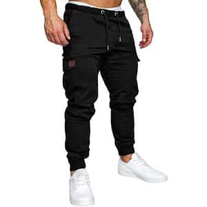 Znu Men's Slim-Fit Jogger Cargo Sweatpants w/ Pockets for $15