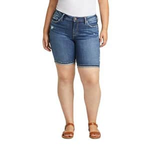Silver Jeans Co. Women's Plus Size Suki Curvy Fit Mid Rise Bermuda Shorts, Distressed Dark Wash, for $77