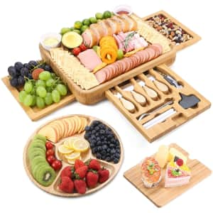 Flurff Bamboo Cheese Board Set for $45