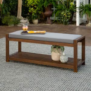 Walker Edison 2-Person Outdoor Wooden Bench for $140