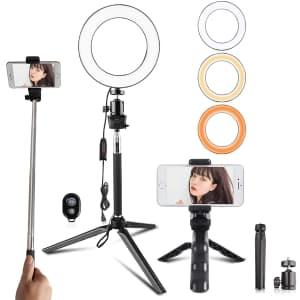 """Travor 6"""" LED Selfie Ring Light Kit for $10"""