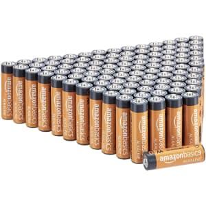 AmazonBasics AA Alkaline Batteries 100-Pack for $23