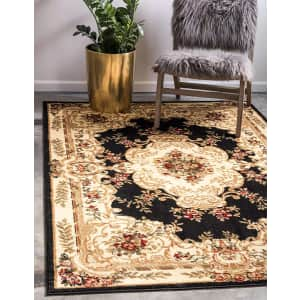 Unique Loom Versailles Collection 5x8-Foot Traditional Classic Black Area Rug for $43