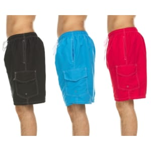 Men's Quick-Dry Swim Shorts w/ Cargo Pockets 3-Pack for $29