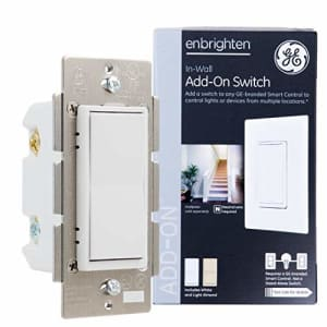 GE Enbrighten Add-On Switch for GE Z-Wave/GE Zigbee Smart Lighting Controls, Works with Alexa, for $24
