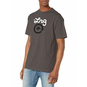 LRG Men's Short Sleeve Logo Design T-Shirt, Cycle Charcoal, M for $22