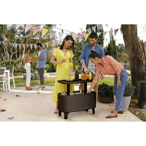 KETER Breeze Bar Outdoor Patio Furniture and Hot Tub Side Table with 17 Gallon Beer and Wine for $242