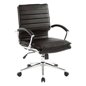Office Star Faux Leather Mid Back Managers Chair with Loop Arms and Chrome Base, Black for $200
