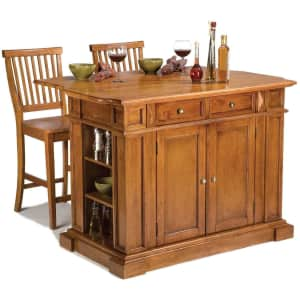 Home Styles Americana Drop-Leaf Kitchen Island w/ 2 Bar Stools for $761