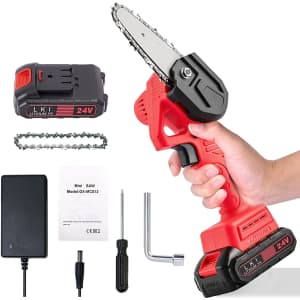 """Moyotec 4"""" Mini Cordless Electric Chainsaw for $29"""