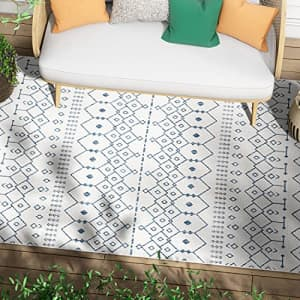 """Well Woven Nors Light Blue Indoor/Outdoor Flat Weave Pile Nordic Lattice Pattern Area Rug 5x7 (5'3"""" for $48"""