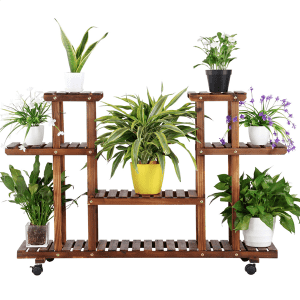 SmileMart 4-Tier 6-Shelf Rolling Wooden Plant Stand for $45