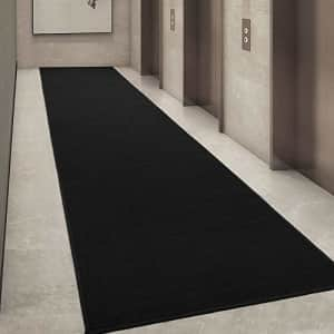 """Ottomanson Ottohome Collection Solid Design Runner Rug, 1'10"""" X 12', Black for $45"""