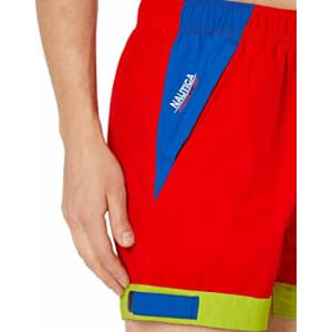 Nautica Men's Tall Quick Dry Tri-Color Logo Competition Nylon Swim Trunk, Fiery red, 2X Big for $34