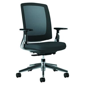 HON Lota Mid-Back Work Chair - Mesh Back Computer Chair for Office Desk, Black with Aluminum Base for $257