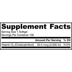 Jarrow Formulas Vitamin D3, Supports: Calcium and Bone Metabolism, 2500 IU, 100 Softgels for $13