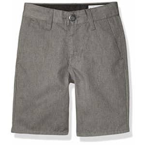 Volcom Boys Frickin Chino Shorts, Charcoal Heather, 25 (10) for $38