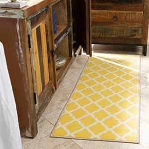 "Ottomanson Glamour Collection Non-slip Moroccan Trellis Design Runner Rug, 20"" x 59"", Yellow for $40"