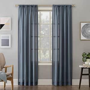 "No. 918 Amalfi Linen Blend Textured Sheer Rod Pocket Curtain Panel, 54"" x 84"", Denim for $12"