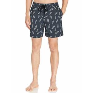 "Amazon Brand - Goodthreads Men's 7"" Inseam Swim Trunk, Navy Feather Print, Small for $26"
