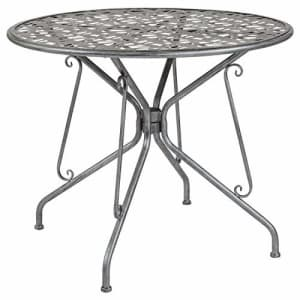 """Flash Furniture Agostina Series 35.25"""" Round Antique Silver Indoor-Outdoor Steel Patio Table for $176"""