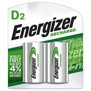 Energizer Rechargeable D Batteries, NiMH, 2500 mAh, 2 count (NH50BP-2) Green and Silver for $18