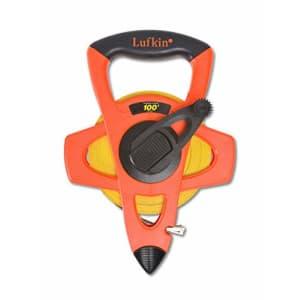 "Lufkin Crescent 1/2"" x 100' Hi-Viz Orange Engineer's Fiberglass Tape Measure - FE100D, orange/black for $45"