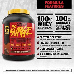 Mutant ISO Surge Whey Protein Powder Acts FAST to Help Recover, Build Muscle, Bulk and Strength, for $32