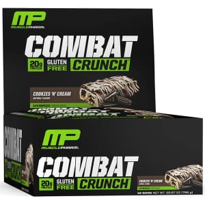 MusclePharm Combat Crunch Protein Bar 12-Pack for $13