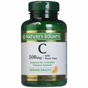 Nature's Bounty Vitamin C 500 mg with Rose Hips Chewable Tablets, Orange Flavor 90 ea (Pack of 2) for $19