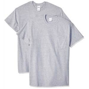 Gildan Men's Ultra Cotton Adult T-Shirt with Pocket, 2-Pack, Sport Grey, X-Large for $20