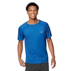 Speedo Men's Uv Swim Shirt Short Sleeve Regular Fit Solid, Turkish Sea, Medium for $34