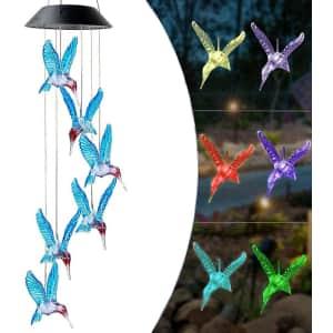 AAWJSDM Hummingbird LED Solar Wind Chimes for $14