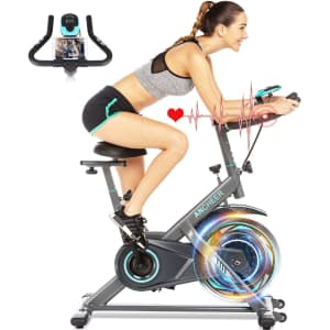Ancheer Stationary Exercise Bike w/ HR Monitor & LCD Display for $188