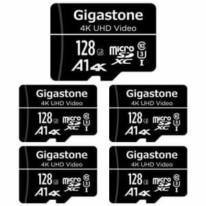 Gigastone 128GB 5-Pack Micro SD Card, 4K UHD Video, Surveillance Security Cam Action Camera Drone for $70
