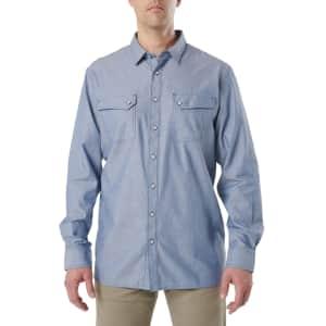5.11 Tactical Men's Buckshot Chambray Shirt for $19